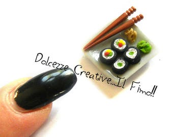 Miniature Dollhouse Doll House plate of sushi with chopsticks 1:12