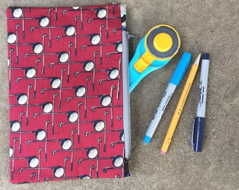 Red and Black Golf Themed Large Vintage Tie Zipper Pouch
