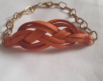 Gold orange coral sailor knot chain bracelet