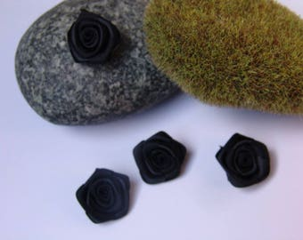 Black rose satin - 2.50 cm in diameter