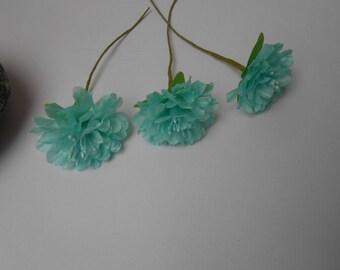 3 flowers - turquoise 3cm in diameter