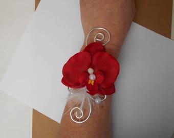 Bride or witness - Burgundy and silver orchid flower bracelet