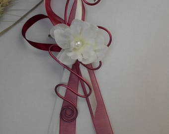 Brooch for bride - train back - ivory cream and Burgundy