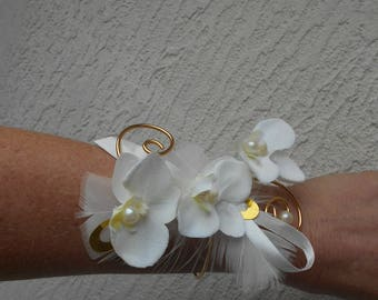 """Flowers for wedding - ivory and gold - """"Orchid"""" bracelet"""