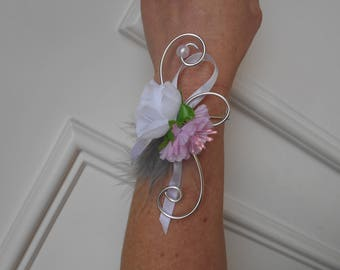 Flowers for bride - pale pink, grey and white bracelet
