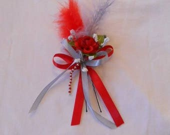 Peak bun, red flower and silver
