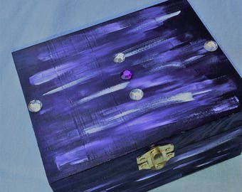 Rhinestone adorned with purple painted wooden jewelry box