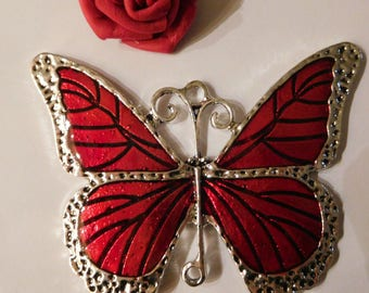 Large pendant red enameled Butterfly 80 x 55