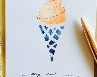 Keep cool icecream card painted