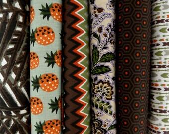 Bradés! 0.97 cts chaque coupon , assortiment 6 coupons tissus 100% coton 50/48 cm,  imprimés motifs fleurs, vintage, géométrique, exotique