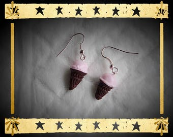 Dark chocolate ice cream cone and pink ball mounted on silver plated earrings