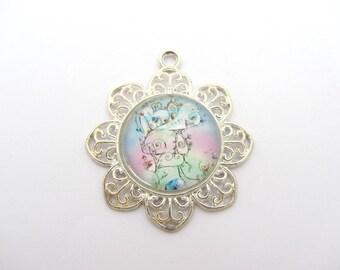 Glass pendant, glass cabochon pendant 25mm, imaginary landscape pendant, silver pendant