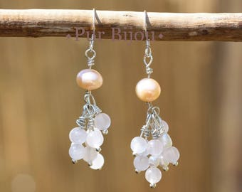 925 Sterling Silver earrings - Rose Quarz & cultured pearls