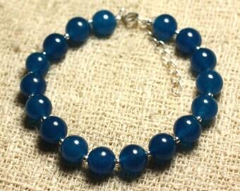 Bracelet 925 sterling silver and blue 8mm Jade - stone