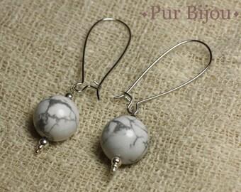 Stone earrings Semi precious earrings - 14mm Howlite