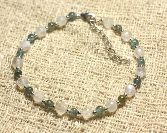 Sky Facettee 5 mm and Apatite 3 mm 925 sterling silver and Rainbow Moonstone bracelet