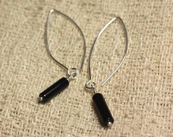 Earrings Silver 925 hooks 40mm - Onyx Black columns 13x4mm