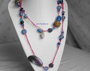CL.0275 large necklace beads wood and glass