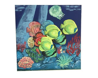 Original acrylic painting under the sea Atlantic 40 x 40 cm