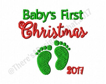 Christmas embroidery design, Babys first christmas 2017 embroidery design, baby feet embroidery design