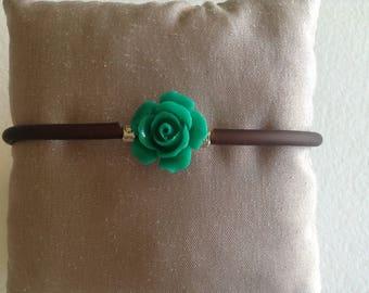 Brown cord bracelet pink green Emerald