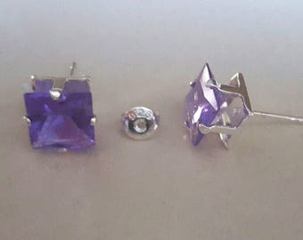 1 pair of earrings in 925 sterling silver and Crystal 8 mm