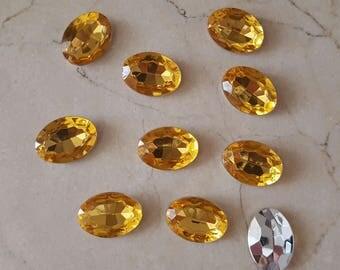 set of 10 large rhinestones orange 18 x 13 mm