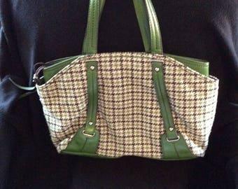 Vintage Liz Handbag, RETRO Green Houndstooth, Checked Leather Satchel, Vintage Mom gift, large LIZ green handbag, Retro green purse, big bag