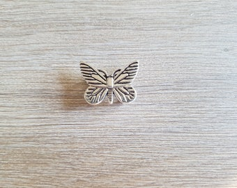 Pearl from antique silver tone Butterfly slide