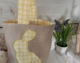 Made of linen and appliqué Easter basket