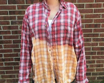 XL Red and Orange Plaid Button Down