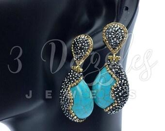 Yellow Accent Artisan Design Bijoux Earrings .Handcrafted Turkish Artisan Earrings