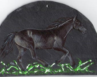 horse acrylic painting on Slate