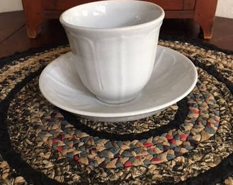 """White Ironstone Handless Cup, Saucer Marked with Lion and Unicorn """"Ironstone China T. Goodfellow"""" also Stamped with Anchor"""