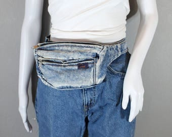 Vintage Denim Fanny Back, Bum Bag, Lightly distressed