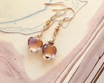 Ametrine heart earrings, pyrite, sterling silver earrings