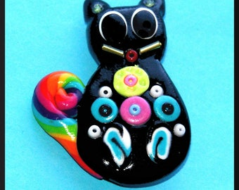 Rainbow cat chula graphic pop rainbow brooch pin