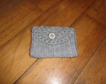 Gray wallet, Vintage button, crochet