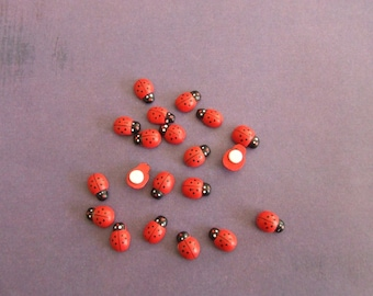 DIY: Set of 20 LADYBUGS for scrapbooking, home deco wooden...