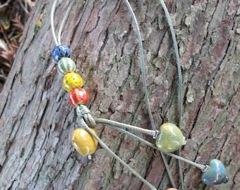 Necklace antique ceramic beads