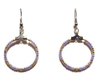 Light purple and gold seed beads earrings