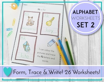 Alphabet Worksheets, Color and Trace Frames, ABC Printables, Preschool & Kindergarten Learning, Teaching Education Resource, Kids Activities