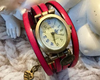 Watch size UNIQUE oval brass bracelet pink leather