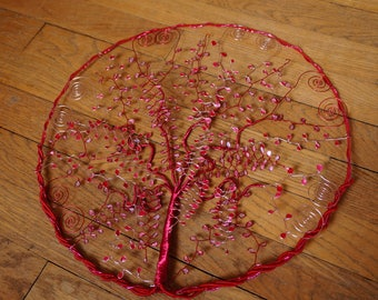tree of life entirely hand made, red and pink
