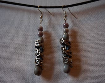 job's tears earrings natural silver
