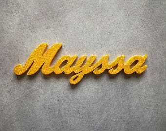 Name to choose from 6 to 7 letters painted gold sequined wooden