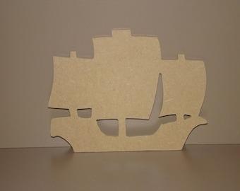 Pirate ship wooden MDF holder decoration 16,5 cm x 13 cm