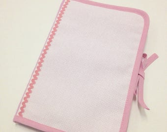 Health booklet has cross stitch Embroidery pink fabric, aida canvas with choice of 2 sides