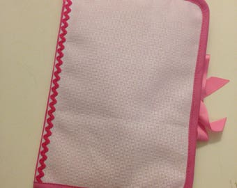 Health book has cross-stitch on 2 sides, pink medium 100% cotton fabric.