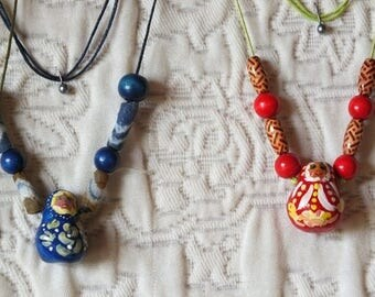 adjustable waxed cord Necklace: painted nesting doll